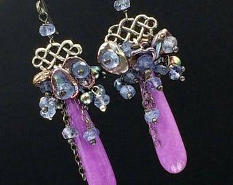 30% SALE Lavender Plum Colorful Long Dangle Earrings Linear Earrings Phosphosiderite, Peacock Pearls Iolite Clusters Mixed Metal Long Earrin