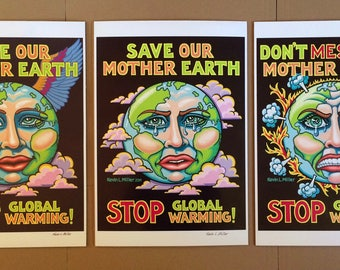 3 Mother Earth Posters by Kevin L Miller, FREE SHIPPING in USA, Free Our Mother Earth, Save Our Mother Earth, Don't Mess with Mother Earth