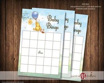 Classic Winnie the Pooh Baby Shower Game, Bingo