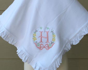 White Monogrammed Ruffled Cotton Baby Blanket with Floral Wreath