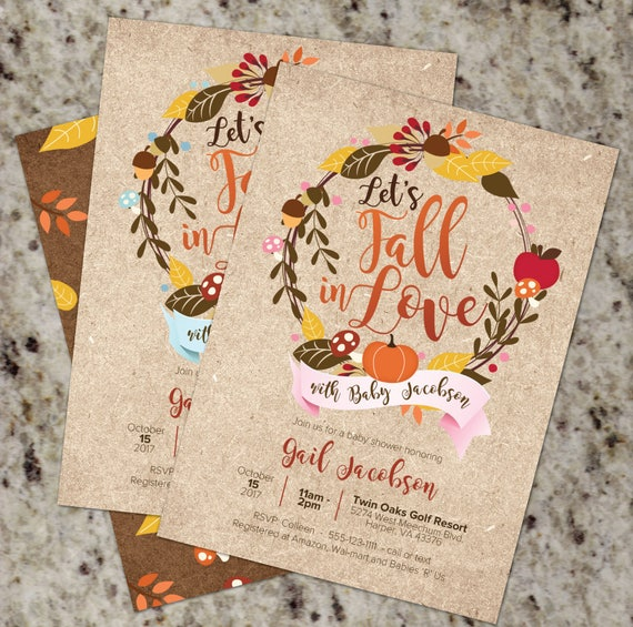 Fall baby shower invitations fall in love pink or blue autumn il570xn filmwisefo