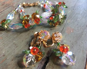 Delightful Vendome Crystal Demi Parure of Dangle Earrings and a Double Strand Bracelet with Crystal Flowers and Leaves
