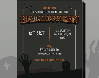 Custom Printable Halloween Party Invitation using your info