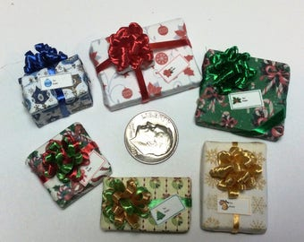 Six Assorted Miniature Christmas Packages set #202