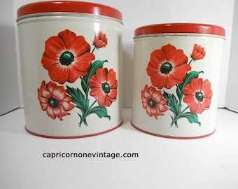 Vintage Kitchen Canisters Set of 2 1950s Decoware Metal Canisters Poppy Flowers Vintage Tin Litho Floral Containers Poppies Movie Prop Red