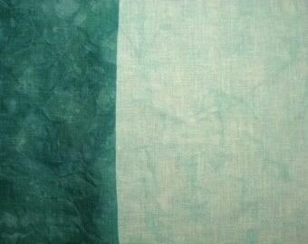 Colorfast Hand Dyed Cross Stitch Fabric 30 count 28X18 Aqua Pale /Medium