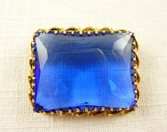 Antique Austrian Huge Crystal and Gold Tone Brooch