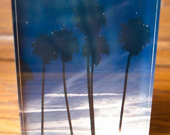 Moonrise over the Sunset on Beach with Palm trees Photo on Acrylic block