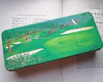 Vintage Tin Box ~ Rudy Nappi Art Pencil Box ~ Back to School Supply ~ Artist ~ Golf Course Landscape ~ Rectangle Tin ~ Art Box ~ Vtg Gift