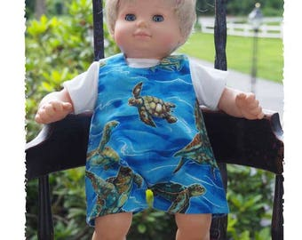 15 inch Baby Doll Clothes will fit  Bitty Baby Dolsl Outfit - Romper Outfit - turtle theme