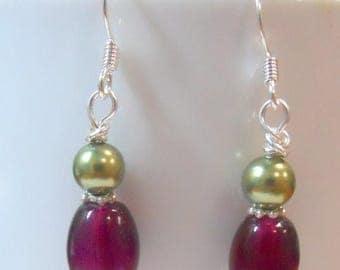 SALE, 50%, Purple glass and Green swarovski glass pearl earrings