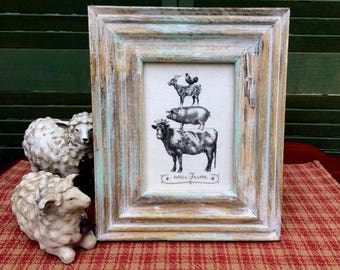 Farm Animal Stack, French Country Decor, Farmhouse Decor, Linen Print, Distressed Shabby Chic Frame, Farm Stack Printed on Linen