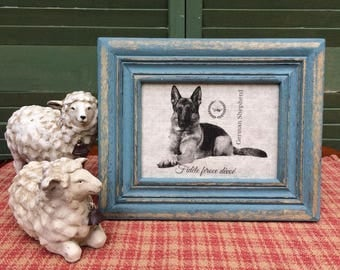 German Shepherd with French Crown, French Country Decor, Farmhouse Decor, Linen Print, Distressed Shabby Chic Frame, Printed on Linen