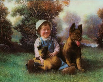 1930s Colour Lithograph. Pals by Alfred Guillon - Boy and his dogs - German Shepherd