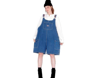 omg rainbow straps 90s ROUTE 66 OVERALL SHORTS adorable oversized 20w xxl size /  denim overalls denim shorts jean shorts jumpsuit romper
