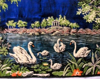 Vintage Tapestry, Swans in the Wild, White Swans, Vintage Wall Tapestry, Animal Tapestry, Vintage Wall Hanging
