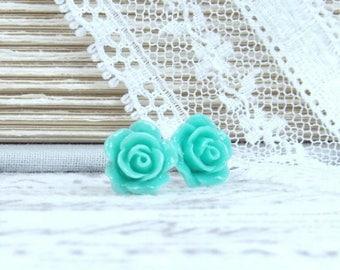 Green Flower Studs Green Rose Earrings Light Green Studs Green Floral Earrings Surgical Steel Studs