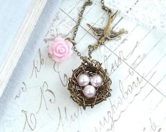 Bird Nest Necklace Nest Pendant Egg Nest Necklace Nature Necklace Bird Lover Gift Pearl Nest Necklace
