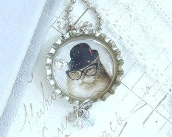 Cute Cat Necklace Cat With Glasses Cat Pendant Necklace Cat Lover Gift Bottle Cap Necklace Cat Jewelry