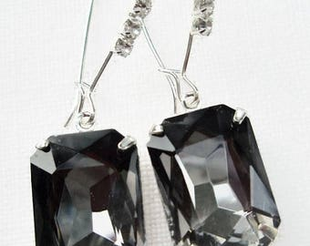 SALE 20% Off Art Deco Earrings - Art Deco Jewelry - Black Diamond Jewelry - Formal Event Jewelry - CRYSTAL CASCADE Black Diamond