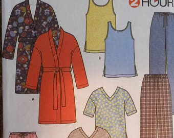2 hour Pajama Pattern Simplicity 9330 Misses,Mens,and Teens Sleepwear Pattern Size XSmall to XLarge