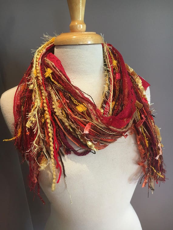 Fringie in Vibrance, Art Scarf, Fringe Scarf, hand tied scarf, ribbon scarves, bohemian scarf, orange yellow red scarf, ribbon scarf