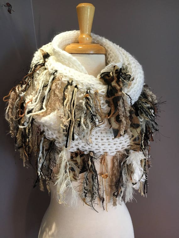 Knit Ivory wide infinity scarf, 'Showstopper', Glitzy Ribbon Fringed Knit Round Loop Infinity, Poncho, Cheetah print scarf, Boho wrap, sweat