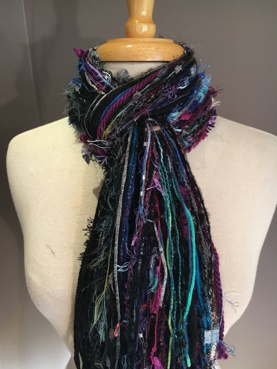 Fringie Scarf, Knotted handmade Scarf, Purple aqua black fringe scarf, boho fashion, accessories, funky scarves, artsy scarves, bohemian