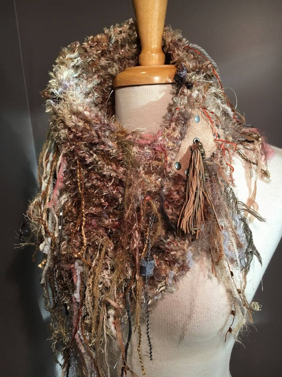 Handknit Shag Artistic Neckwarmer with leather rivited detail and fringe, Knit Collar, Tan Knit Fringed Collar, Knit Cowl, Chenille scarves