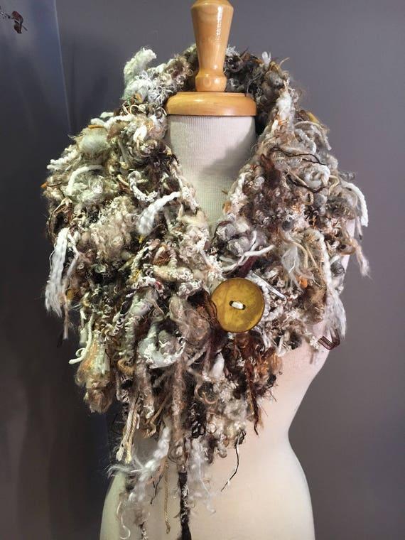 Hand Knit drawstring chunky art scarf with button, Eco friendly hand spun yarn, cinchable, Wool acrylic blend, Knit Scarf, chunky cowl