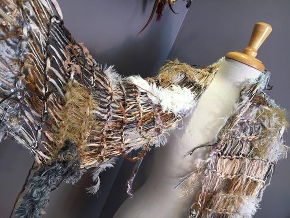 Fringed knit loghtweight artwear Shawl or Scarf, 'Neutrality', Dumpster Diva, Knit Fringed cream ivory tan grey wide Scarf, bohemian fashion