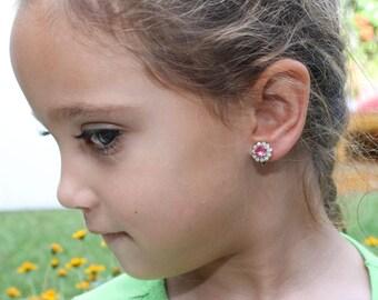 Pink Flower Girl Clip On Earrings Swarovski Crystal White Opal Toddler Gift Pink Clip On Toddler Earring Non Pierced Ears,Silver,Rose,SE116
