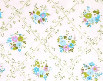 One Yard of Vintage Sheet Fabric.  Blue and green floral mod