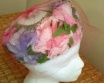 Vintage 60s Pink and Purple Floral Summer Floral  Hat