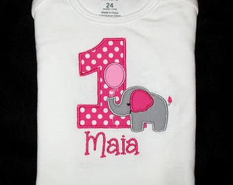Custom Personalized Applique Birthday Number ELEPHANT with BALLOON and NAME Shirt or Bodysuit - Hot Pink Polka Dot, Gray, and Bubblegum Pink
