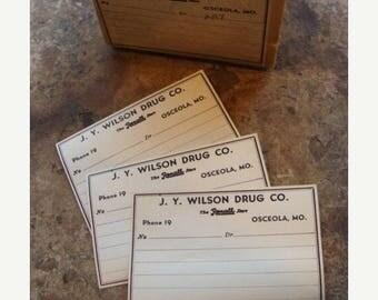 ONSALE One Dozen Antique1900s  Pharmacy J. Y. Wilson Drug Co. Gummed Labels