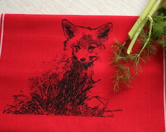 Fair Trade handwoven tea towel 'Little fox' red