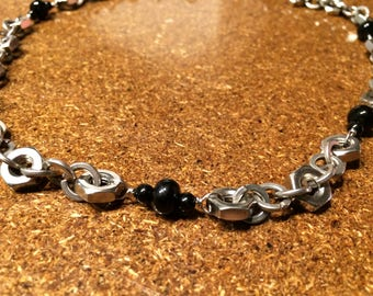 Hardware jewelry necklace with stainless steel hex nuts and glass black beads