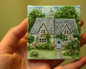 Special Listing for Mindy Jones....CUSTOM English Cottage with Blue Door Painting in Oil by LARA aceo 3x3 Mini Tiny House