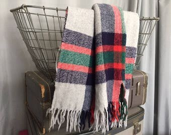 Plaid Blanket Fringe Light Gray Navy Blue Cherry Red Dark Green Striped Vintage Farmhouse Home Decor Small Throw