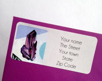 Quartz Crystal Gem Return Address Labels stickers to personalise your stationary