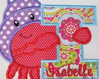 Hermit Crab Alphabet - Iron On or Sew On Embroidered Applique Patches