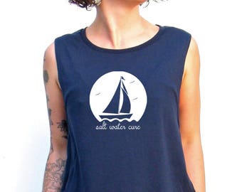 Sailboat Muscle Tee, Salt Water Cure Workout Top, Muscle Tank< Gym Shirt, Graphic Muscle Tee