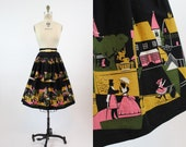 50s Novelty Print Skirt XS / 1950s Cotton Full Skirt / Scenes of a City Skirt