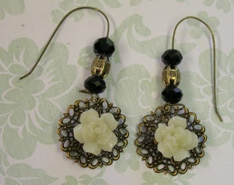 French Country WHITE ROSE Earrings-French Ear Wires-Antique Brass Filigree