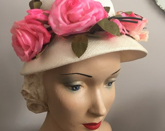 Vintage 1950's NOS Off White Hat with Pink and Cream Millinery Roses
