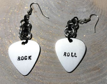 Silver Guitar Pick Dangle Earrings Rock and Roll Metal Stamp Anodized Aluminum