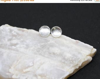 Christmas In July Sale - Rock Crystal Quartz Gemstone . SMALL 6mm Round Dome . Sterling Silver Posts Studs Earrings . Crystal Clear . E16067