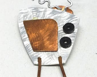Abstract Handmade TV Pin in Copper and Silver tone