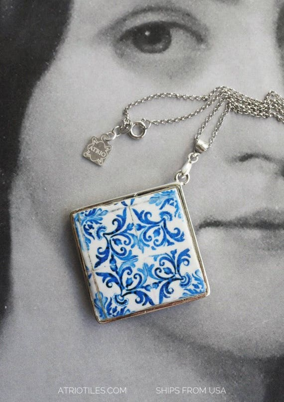SILVER Necklace Portugal Tile Azulejo Antique BLUE  - Church of Mercy PoRTO 1590 - 925 Reversible waterproof 585